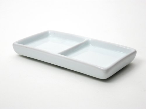 Honey-Can-Do 8076 Porcelain Divided Sauce Plate, White, 5.75-Inches x 3.5-Inches - Divided Porcelain