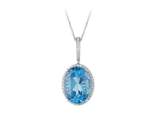 Birgie Diamants et Bijoux - Pendentif Topaze et Diamants-Femme- or Blanc 201P0036