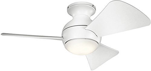 Kichler 330150MWH 34 Inch Sola Ceiling Fan LED, 3 Speed Wall