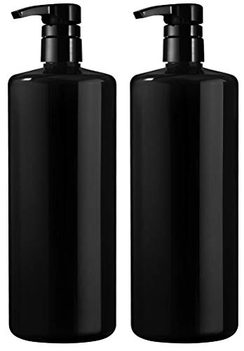 Bar5F Empty Shampoo Bottle with Lotion Pump, Black, Great 1 Liter/32 Ounce Refillable Dispensing Containers for Conditioner, Body Wash, Hair Gel, Liquid Soap, DIY Lotion's and Massage Oil's (PK 2)