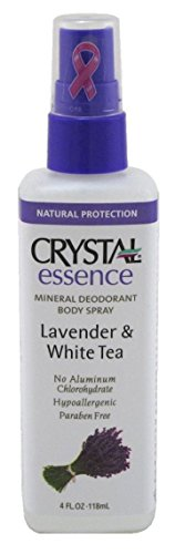 Mineral Deodorant Body Spray - Crystal Essence Lavender and White Tea Body Spray - 4 oz - Liquid
