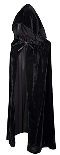 Crizcape Kids Costumes Capes Cloak with Hood for Halloween Party Ages 2 to 18 (Black, L/100CM)