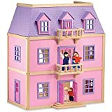Melissa & Doug Multi-Level Solid Wood Dollhouse w/ Family of 5 Dolls