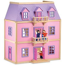 Melissa and Doug Multi-Level Solid Wood Dollhouse w/ Family of 5 Dolls, Baby & Kids Zone
