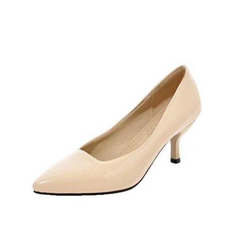 Légeres Verni À Talon Femme Unie Aalardom Chaussures Abricot Couleur Correct Tire w4zFnxIq