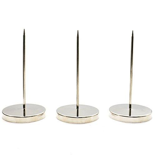 Pack of 3 Long Desk Straight Rod Paper Memo Receipt Holder Spike Stick Bill Fork,Stainless steel