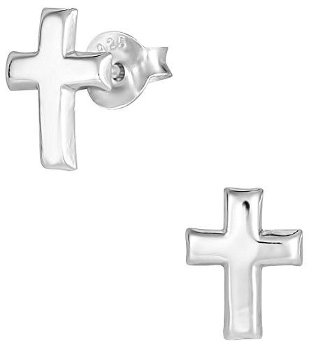 Hypoallergenic Sterling Silver Little Cross Stud Earrings for Kids (Nickel Free) Silver Little Cross