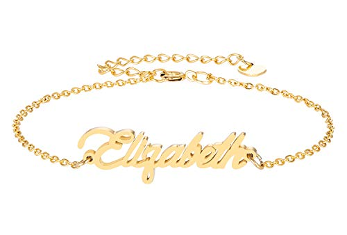 HUAN XUN Elizabeth Name Bracelet for Womens Girls Jewelry Gifts Stainless Steel