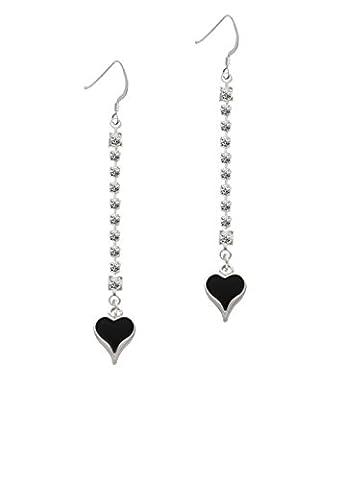 Small Long Black Heart Crystal Ava Earrings
