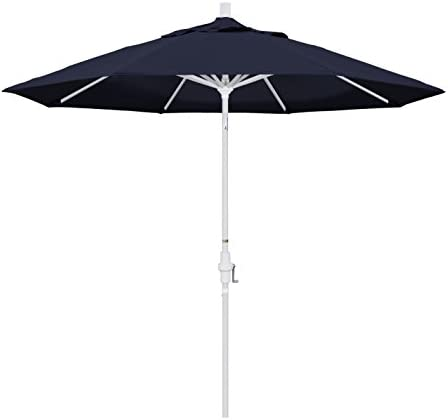 California Umbrella 9 Round Aluminum Market Umbrella, Crank Lift, Collar Tilt, White Pole, Pacifica Navy Blue