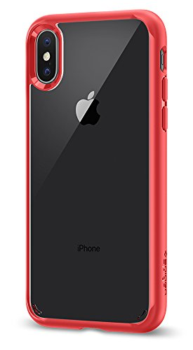 Spigen Ultra Hybrid iPhone X Case with Air Cushion Technology and Hybrid Drop Protection for Apple iPhone X (2017) - Red