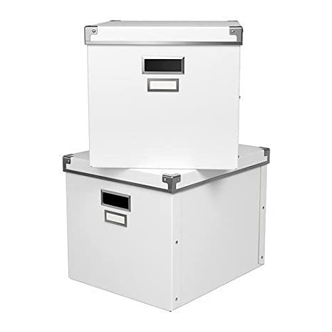 IKEA cajas de almacenamiento de KASSETT – Set de 2 cajas con tapa y
