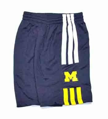 (adidas Michigan Wolverines Youth 3-Stripe Pre-Game Shorts (Youth X-Large))