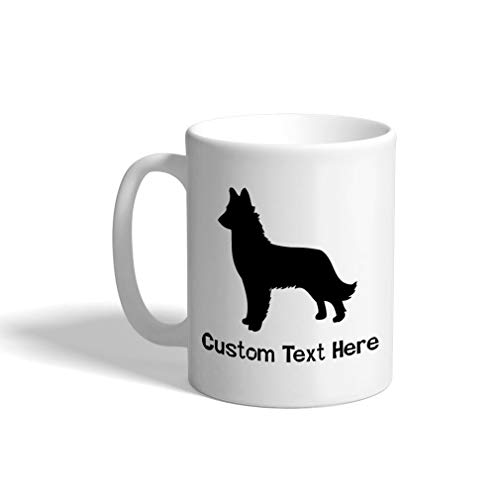 Custom Funny Coffee Mug Coffee Cup Belgian Shepherd (Malinois) Silhouette White Ceramic Tea Cup 11 OZ Personalized Text Here