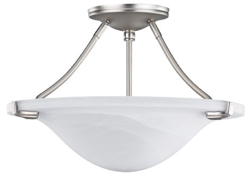 CANARM LTD. RISF65315BN Canarm LTD RISF65315BN Nouveau 3-Light Semi-Flush Mount - Ceiling Lamp Platinum Flush Semi