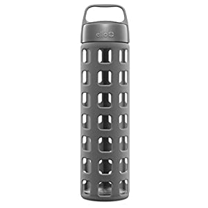 Ello Pure BPA-Free Glass Water Bottle with Lid, Grey Squares, 20 oz.