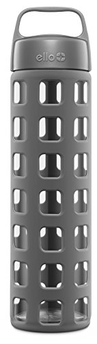 Ello Pure BPA-Free Glass Water Bottle with Lid, Grey Squares, 20 - Glasses Water Sports