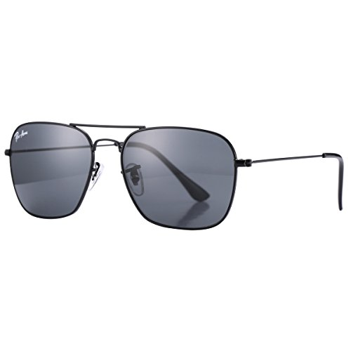 Pro Acme PA3136 Crystal Lens Square Caravan Sunglasses (Black Frame/Crystal Black - Black Luxury Logo Sunglasses