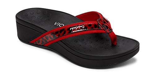 - Vionic Women's Pacific High Tide Toepost Sandals - Ladies Mid Heel Flip Flops with Concealed Orthotic Support - Red Leopard 7W