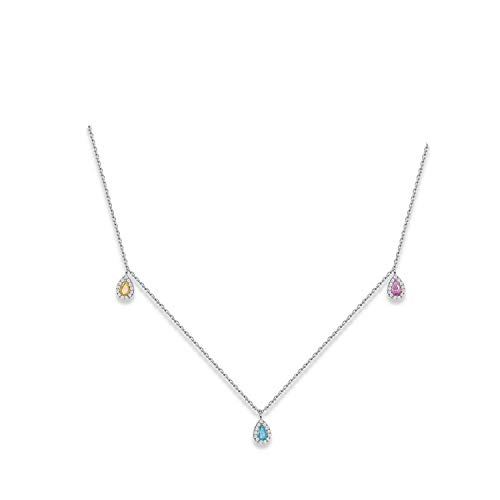 Five Small Drop Charms Mix Colorful Rainbow Zircon Necklace for Women Wholesale Fashion Jewelry Gift ()