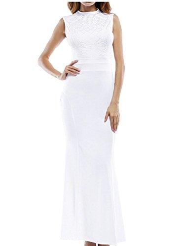 Maxi Sleeveless Long Bodycon ainr Solid Dresses Women Sexy Comfy White wqxI1YP