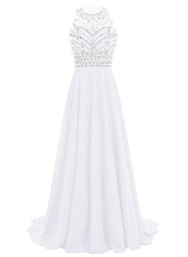 Bbonlinedress Women Long Chiffon Beadings Scoop Prom Party Dresses Evening Gown White 12 by Bbonlinedress