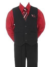 Stylish Dress Suit Outfit Pant, Vest & Tie Set-Infant Baby Boys & Toddler-Black/Red, 6 Months