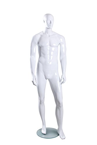 Male Full Body Fiberglass Abstract Egg Head Mannequin Glossy White (MH02) by Only Mannequins®