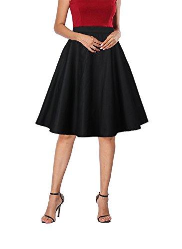Circle Skirt Cotton (Yanmei A-Line Pleated Vintage Skirts for Women Black Medium 1086-11)
