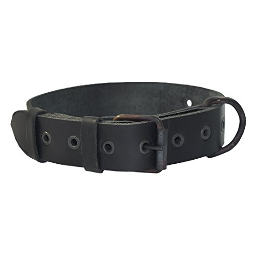 Rustic Thick Leather Dog Collar For Medium Size Dog (10 to 19 Inches) Handmade by Hide & Drink :: Charcoal - Direct Tracking Link Number