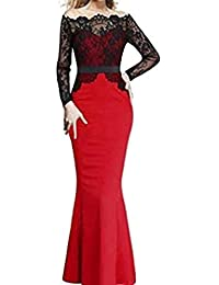 1f6f123e5e1 Women Lace Stitching Long-Sleeved Maxi Cocktail Party Evening Formal Gown  Slim Fishtail Dress