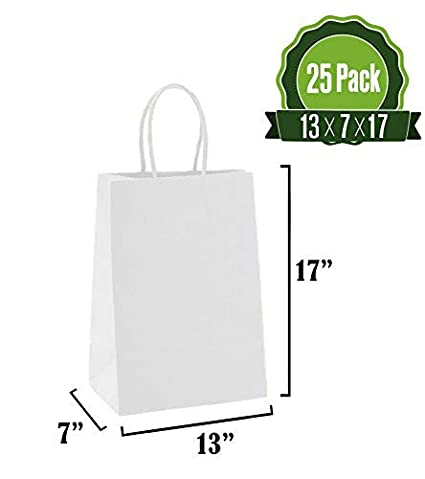 Wedding Retail 50Pc Business Gifts Recycled Packaging Ideal for Shopping Party Goody and Merchandise Bag Craft Brown Kraft Paper Gift Bags Bulk with Handles 13 X 7 X 17