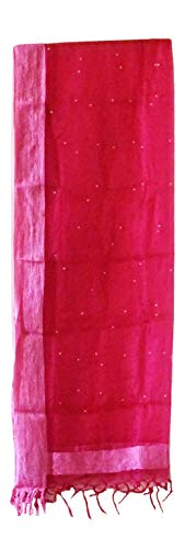 Saffron collection India Net Oraganza dupatta with pearl design all over odhani (Pink)