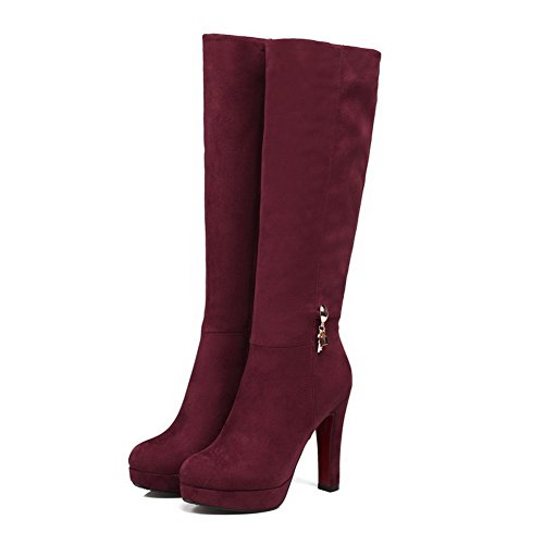 Top Zipper Allhqfashion Claret Women's Heels Boots Frosted Solid Mid High HwBOt1