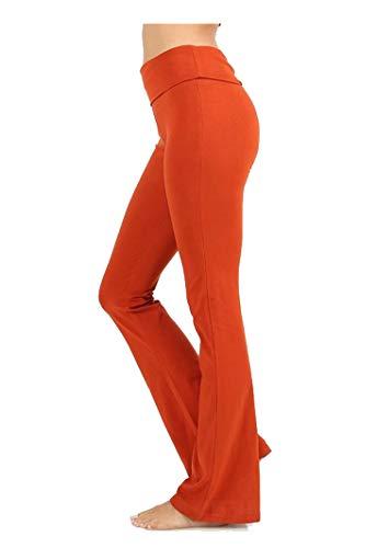 Zenana Premium Cotton FOLD Over Yoga Flare Pants (Copper, - Cotton Flare Pants