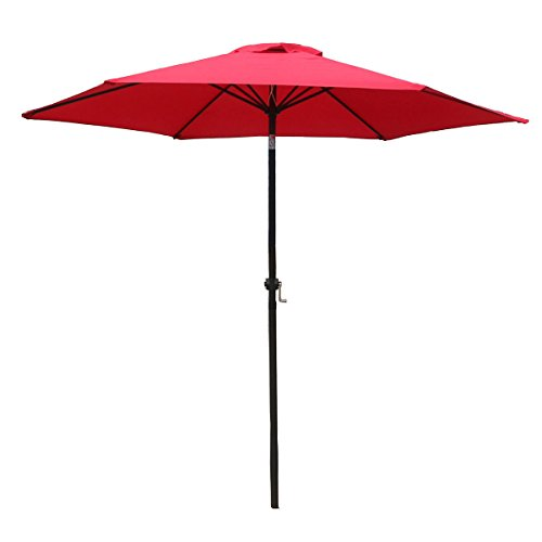 FDW Patio Umbrella 9′ Aluminum Outdoor Patio Market Umbrella Tilt W/Crank For Sale