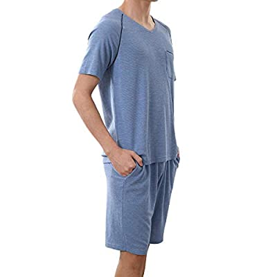 Haseil Men's Cotton Pajamas Set Short Sleeves and Shorts Solid Casual Summer Sleepwear, Blue, Tagsize2XL=USsizeL at  Men's Clothing store