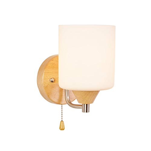 Northern Europe Wood Wall lamp, Hardwired Wall Sconce Glass Shades Wall Light Bedroom Living Room Study Room Aisle Bedside-20x12x18cm