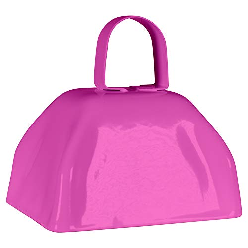 Bell Cancer Breast - Metal Cowbells with Handles 3 inch Novelty Noise Maker - 12 Pack (Pink)