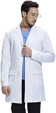 Dr. James Men's Consultation Lab Coat, Slim Fit, Multiple Pockets, White, 36 Inch Le