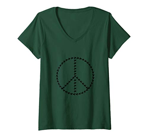 Womens Awesome Peace Sign Doves V-Neck T-Shirt