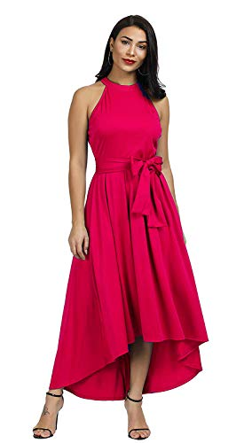 Annystore Women Sleeveless Belted Asymmetrical High Low Homecoming Party Maxi Dress (XX-Large, Rose Red)
