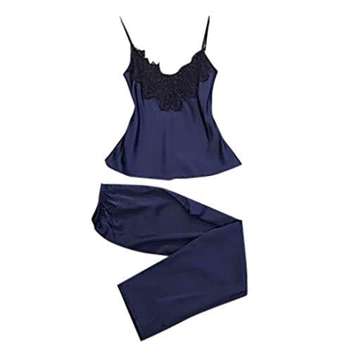Close-dole Women's Sexy Sling Underwear Solid Color Lace Pajamas Sleep Pants Trousers Suit Blue ()