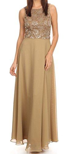 Belle Maids Lace and Chiffon Maxi Dress 1376F-TAUPE-3X