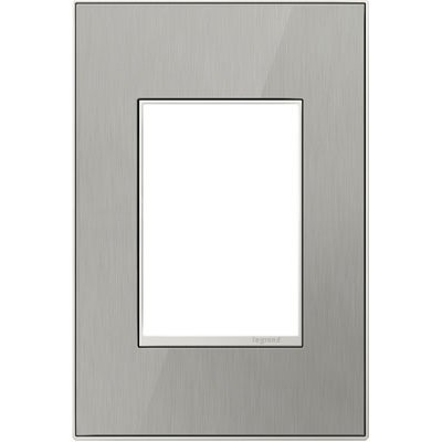 adorne 1-Gang 3-Module Brushed Steel Wall Plate