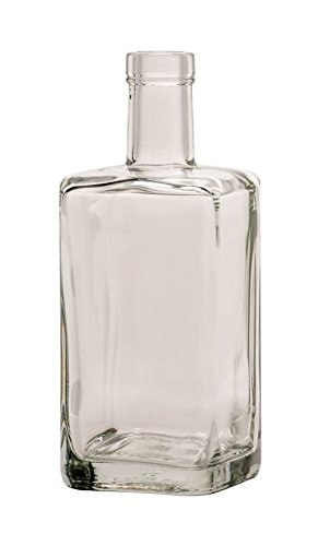 North Mountain Supply 750ml Stockholm Square Glass Wine/Spirits Bottle Bar Top Finish - Case of 4 by North Mountain Supply