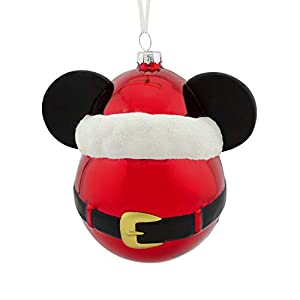 Best Epic Trends 31KvFCoaImL._SS300_ Hallmark Christmas Ornaments, Disney Mickey Mouse Icon With Santa Hat Blown Glass Ornament