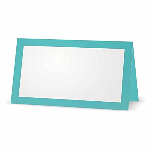 Misty Blue Place Cards - Flat or Tent Style - 10 or 50 Pack - White Blank Front Solid Color Border Placement Table Name Dinner Seat Stationery Party Supplies Occasion Event Holiday (50, Tent Style) -