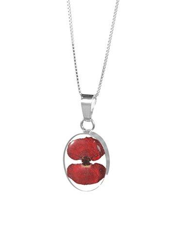 Bijoux en argent avec fleurs véritables - pendentif femme - pavot rouge - forme ovale - 45cm chaine inclus
