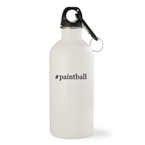 #paintball - White Hashtag 20oz Stainless Steel Water Bottle with Carabiner